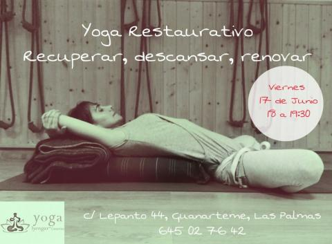 Cartel: Yoga restaurativo - Recuperar, descansar y renovar
