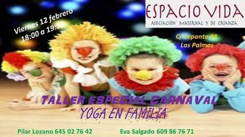 Cartel - Taller Yoga en Familia: Especial Carnavales